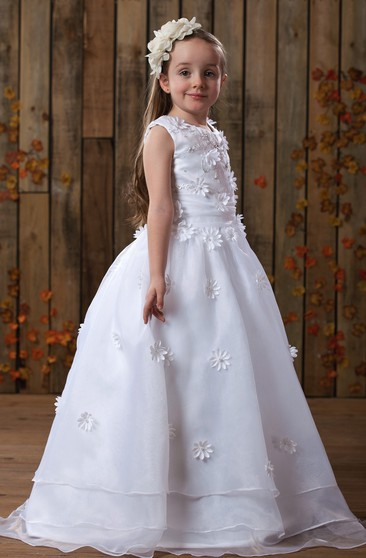 Sweet Sleeveless Ruched A-Line Flower Girl Dress With Zipper Back