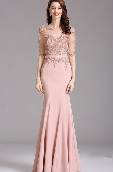 Sheath Bateau Half Sleeve Jersey Appliques Illusion Dress
