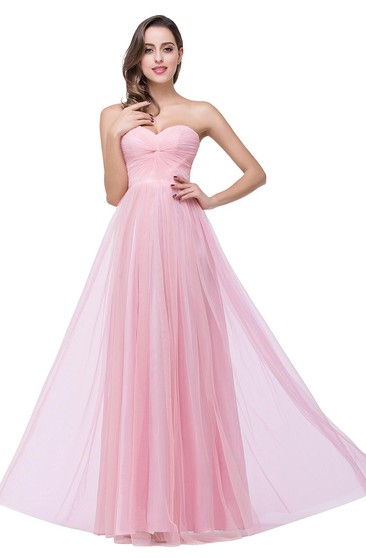 Elegant Sweetheart Pink Bridesmaid Dress 2018 Ruched Long Prom Gown