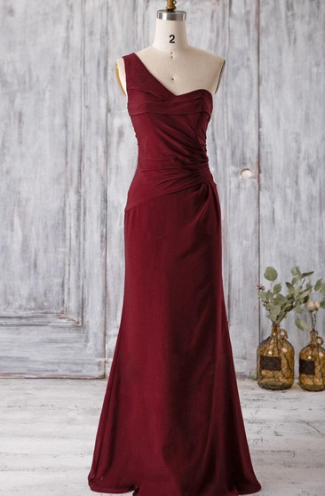 One Shoulder A-line Chiffon Floor Length Dress With Ruching