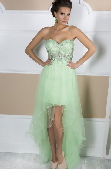 A-Line High-Low Asymmetrical Train Sweetheart Sleeveless Tulle Beading Ruffles Backless Dress
