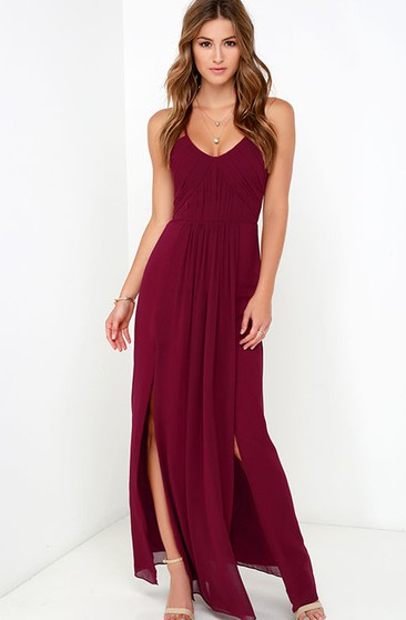 Elegant Chiffon Sleeveless Gown With Side Splits