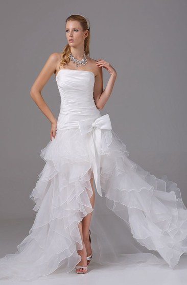 Noble Strapless High-Low Organza Dress With Ruching and Corset Back