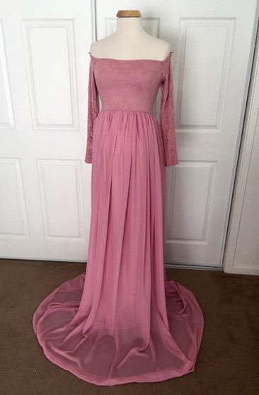 547e1640297 Chiffon Lace A-line Illusion Long Sleeve Off-the-shoulder Maternity Dress
