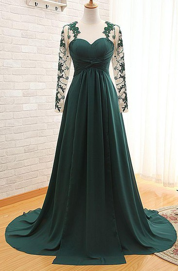 Elegant Long Sleeve Dark Green Evening Dress 2016 Chiffon Long With Appliques