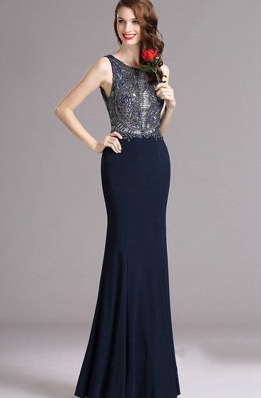 Mermaid Floor-Length Jewel Sleeveless Satin Beading Appliques Low-V Back Dress