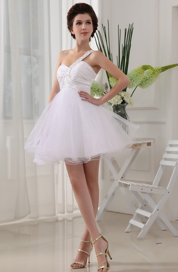 Sweetheart Tulle A-Line Short Criss-Cross Dress With Jeweled Strap