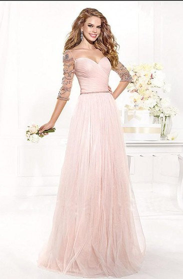 A-line Sweetheart Floor-Length Half Sleeves Tulle Beading Dresses