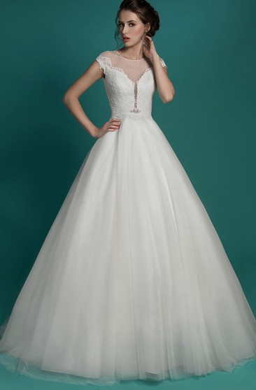 A-Line Floor-Length Jewel-Neck Cap-Sleeve Keyhole Tulle Dress With Beading And Lace