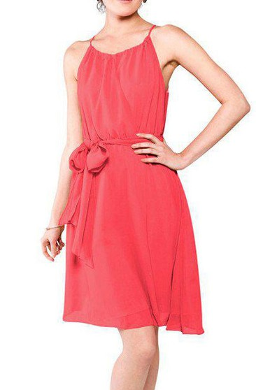 Spagetti Straps Short Chiffon Dress with Sash