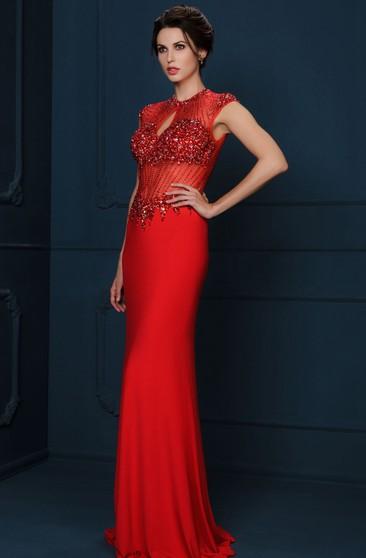 Sheath Floor-Length One-Shoulder Sleeveless Illusion Chiffon Dress With Beading And Ruching