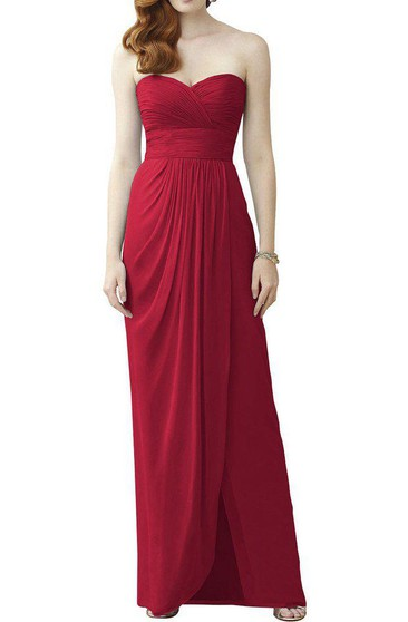 Sweetheart Ruched Chiffon Long Bridesmaid Dress with Front Split