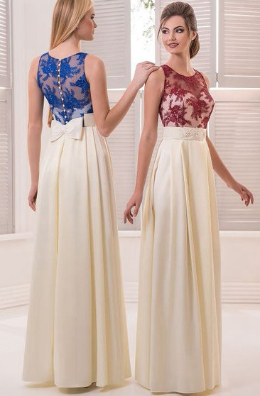 A-Line Floor-Length Jewel Sleeveless Satin Lace Pleats Illusion Dress