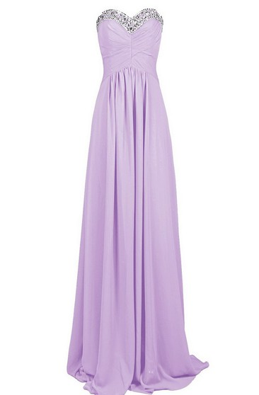 Sweetheart Long Chiffon Dress With Sequined Bustline