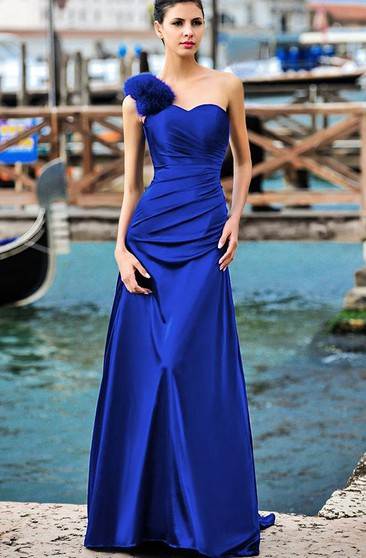 One-shoulder Long Satin Dress with Feather Detail