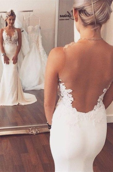 Noble Sleeveless Lace Appliques 2018 Wedding Dresses Mermaid on Sale