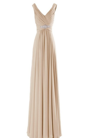Sleeveless V-neck Empire Long Gown With Pearls