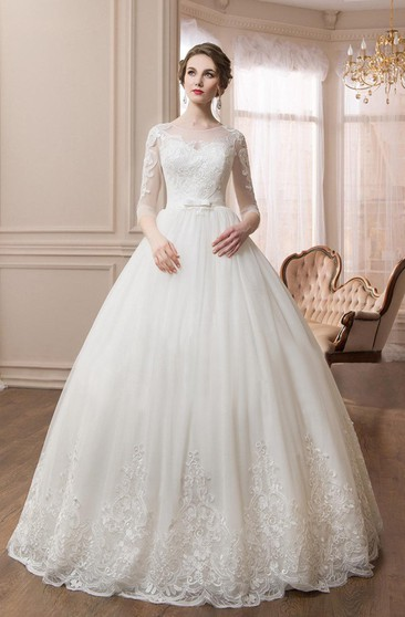 Scoop Long Sleeve Ball Gown Dress With Illusion Sleeves