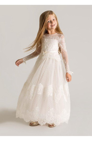 Modern Tulle Lace A-line Flower Girl Dress 2018 Long Sleeve