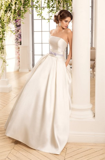 A-Line Long Off-The-Shoulder Sleeveless Illusion Satin Dress With Cape