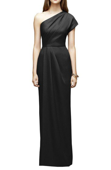 One Shoulder Satin Sheath Bridesmaid Dress with Pleats