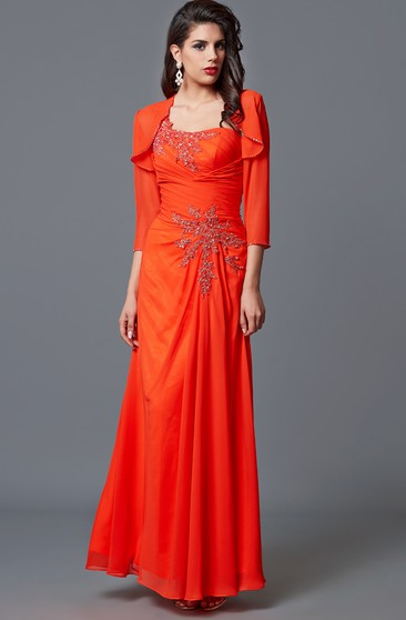 Elegant One-sided Draping Chiffon and Lace Formal Long Dress With Chiffon Jacket