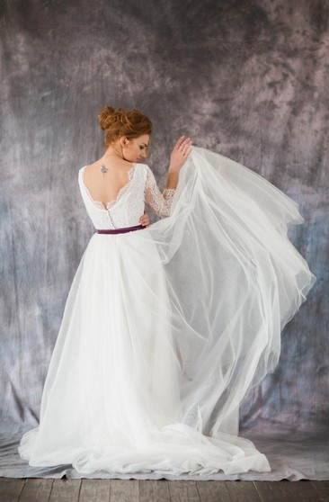 3-4 Sleeve A-Line Lace and Organza Dress With Bateau Neckline and Satin Sash