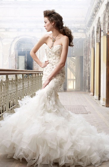 Exquisite Organza Ruffle Trumpet Dress With Beaded Embroidery