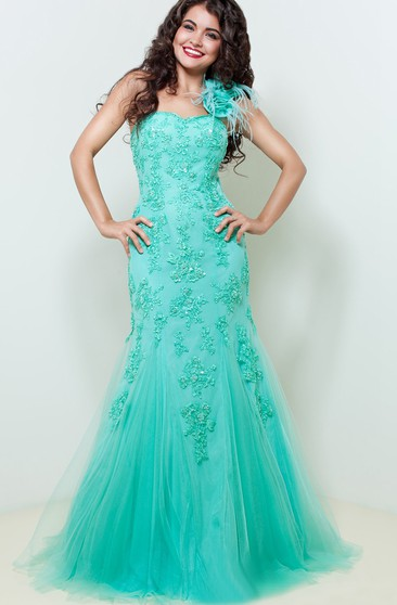 Mermaid Floor-Length One-Shoulder Sleeveless Tulle Beading Appliques Zipper Dress