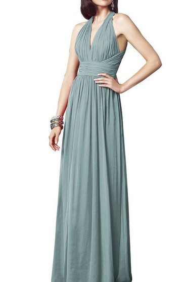 Halter Ruched Chiffon Bridesmaid Dress