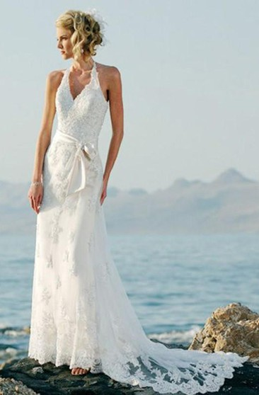 sheath Sleeveless Halter Court Train Lace Wedding Dresses