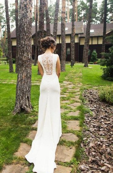 Chiffon Mermaid Sleeveless Dress With Illusion Lace Back
