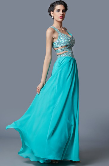 Stunning Sleeveless Long Chiffon Gown with Sequined Bodice and Side Cutouts