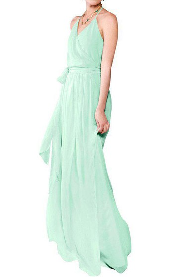 Halter Wrap Chiffon Bridesmaid Dress with Sash