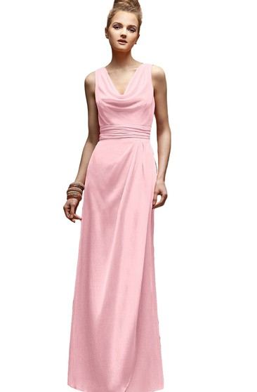 Long Sleeveless Cowl-Neck Dress With Zipper Back