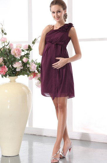 One-Shoulder Chiffon Short Dress With Flower and Ribbon