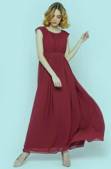 Scoop Neck Cap Sleeve Empire A-line Chiffon Long Dress With Pleats