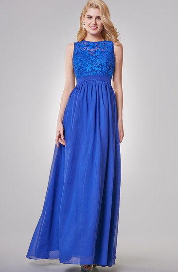 Sleeveless A-line Long Chiffon Dress With Illusion Back