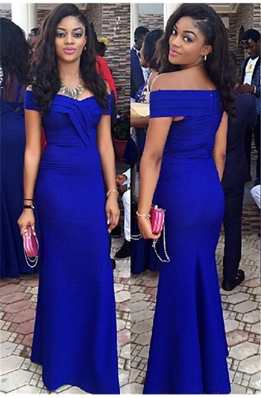 Elegant Royal Blur Mermaid 2016 Prom Dress Off the Shoulder Floor Length Party Gown