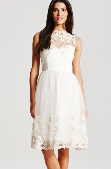 High-Neck Knee-Length Dress With Lace And Illusion Straps