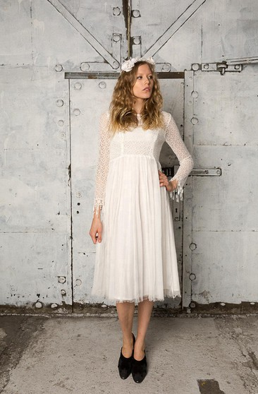 Long Sleeve A-Line Tulle Dress With Lace Bodice and Pleated Skirt