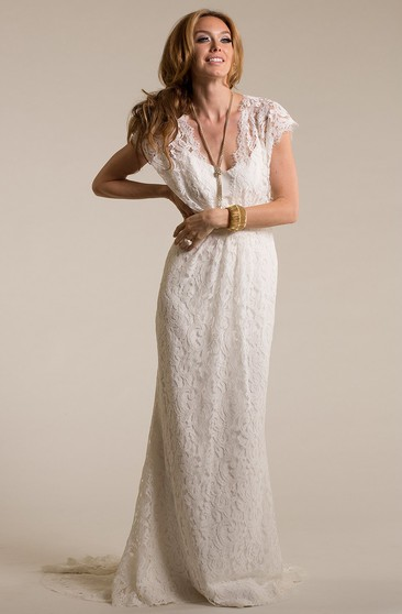 Long V-Neck Cap-Sleeve Lace Wedding Dress With Sweep Train And Keyhole