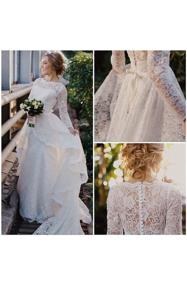 Scalloped Bateau Neck Allover Lace Ball Gown With Bow and Long Sleeves