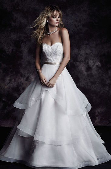 A-Line Long Dress With Tiers And Lace Bodice