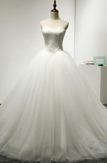 Sweetheart Tulle Ball Gown With Lace Bodice and Lace-Up Back