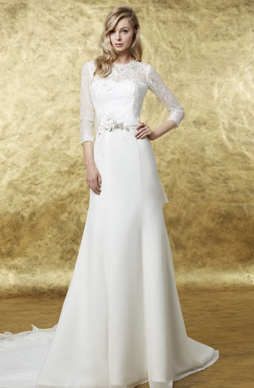 A-Line 3-4 Sleeve High Neck Floral Chiffon Wedding Dress