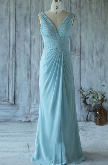 V Neck V Back Sheath Chiffon Long Dress With Ruching