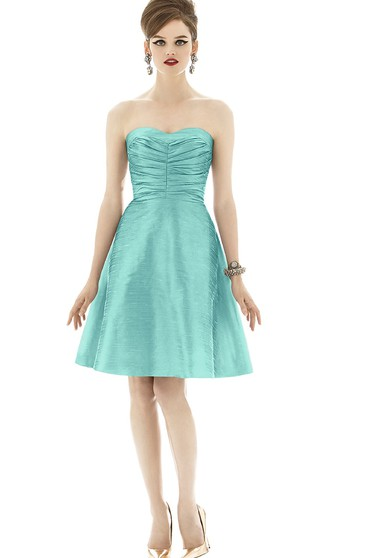 Taffeta Sweetheart Short A-Line Unique Dress With Ruching