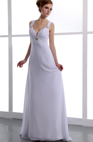 Deep V-Neck Chiffon Empire Dress With Ruching
