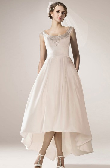Vintage Style High Low Wedding Dress With Beaded Neckline